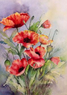 Poppies I-- Watercolor on paper--Mahjabin GG