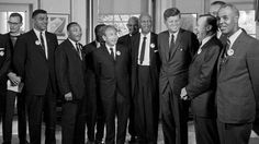 Dr. Martin Luther King, Jr. and President Kennedy stand with a group of leaders of the March on Washington at the White House in Washington, Aug. 28, 1963 (AP Photo)