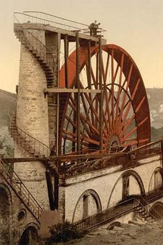 "Largest Working Waterwheel in the World at Laxey, the Isle of man, it is 72 feet tall and is an undershot wheel. It is known as the ""lady Isabella"" and was used"