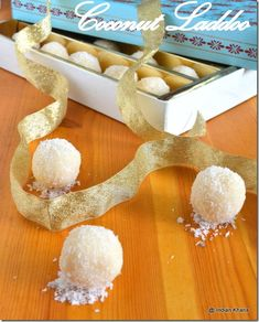 Indian Khana: Coconut Laddoo | Diwali Recipes  (Seems like a good option for when the regular recipe containing milk and sugar fails)