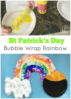 Roll a Bubble Wrap Rainbow is the perfect project to get all of your kids working together this Spring.  We are gearing up for St Patrick's Day as well over here, so we added on our very own little pot of god (just in case the boys don't manage to catch a Leprechaun in their traps!).