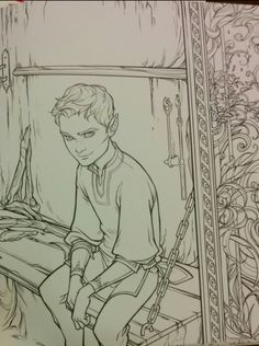 The Bone Carver Official pictures from the A Court of Thorns And Roses coloring book