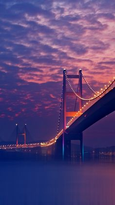 Bridge night walpaper. Bridge, night, mist, night, mist, purple, river, iphone android.