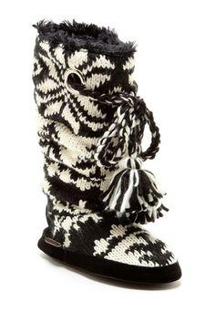 MUK LUKS Grace Braided Tassel Knit Slipper Boot