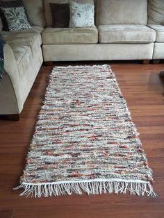 Wool Rug Runner, Handwoven, Brown, Cream, Red, Orange 31x81. $100.00, via Etsy.