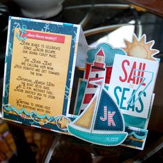 J turns seven this year... so we are sailing the seven seas!!   Note: I can't take 100% of the create for the writing on the card, I found i...