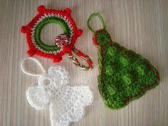 handmadebycamelia :  3 Christmas ornaments- wreath ring, angel and Christmas tree.