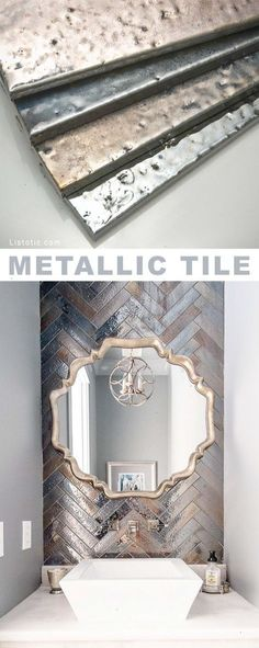 Metallic tile! Beautiful and creative tile ideas for kitchen back splashes master bathrooms small bathrooms patios tub surrounds or any room of the house!