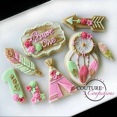 "Boho ""Brave One"" cookies for a special first birthday. This little girl had open heart surgery when she was only 5 months old. ❤ Dream catcher, teepee, feather cutters from"