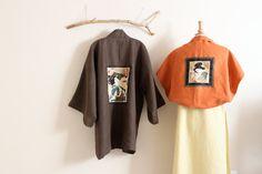 handmade geisha brown heavy linen haori inspired jacketby annyschooecoclothing