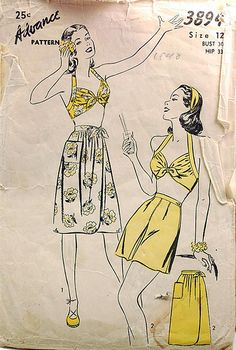 1940s vintage Advance 3894, sewing pattern, playsuit