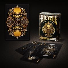 Bicycle Steampunk Deck (Black) by Gamblers Warehouse - Trick Steampunk Bicycle, Bicycle Deck, Unique Playing Cards, Magic Illusions, Bicycle Playing Cards, Skull And Bones, Deck Of Cards, Decks, Warehouse