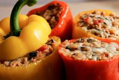 Ground Turkey Stuffed Peppers - Keep covered with foil & bake 35 min, then uncover and broil 5 min to brown the topping. This filling was so delicious! I would eat this even without the peppers. Turkey Recipes, Dinner Recipes, Ground Turkey Stuffed Peppers, Clean Eating, Healthy Eating, Cooking Recipes, Healthy Recipes, Cookbook Recipes, I Love Food