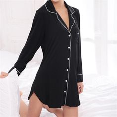 New Arrivals Modal Nightgowns Soft Home Dress Sexy Nightwear Women Sleepwear Solid Sleep Lounge Vintage Nightgown Female Night Shirts For Women, Clothes For Women, Pijamas Women, Vintage Nightgown, Lingerie Outfits, Sleep Shirt, Sleepwear Women, Night Outfits, Night Gown