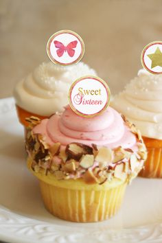 Sweet 16 Cupcake Toppers. Add that special touch to her day. Instant download cupcake toppers that you can print from home!