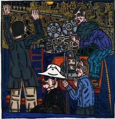 Robert Combas -  Le tournage du Samouraï  Jean Pierre Melville  (acrylique sur toile, 2007)
