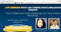 How To Make More Sales Combining Your Story & Video Marketing Register for the live webinar, or the replay  http://videosales.sayretired.com/ #ThatSAYsItAll #OnlineBusinessManager #VideoMarketing #ConversionStrategy