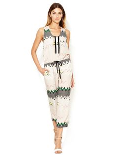 Printed Drawstring Scoopneck Jumpsuit by Timo Weiland