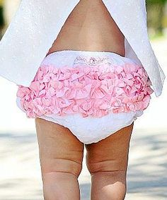 White & Pink Woven Ruffle Diaper Cover - Infant