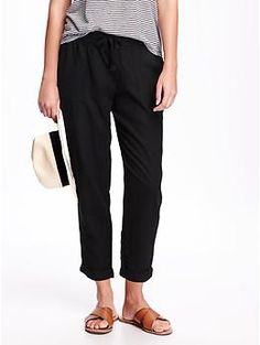 Linen-Blend Cropped Pants for Women   Old Navy