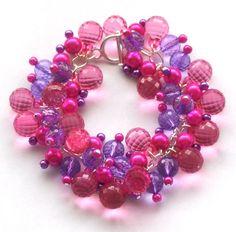 Beaded Pearl Bracelet Hot Pink Bracelet Purple by beadingshaz, £12.50