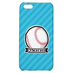 Baseball on Sky Blue Stripes iPhone 5C Cases