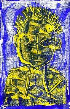 ARTFINDER: Blue Punk by Steve Clement-Large - Spiky haired experimentation. Blue acrylic paint on glass - figure sketched with a knife and printed direct onto paper. The resulting image hand tinted in ac...