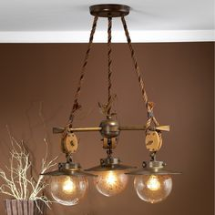 Three Light Nautical Motif Chandelier from the Cadernal Collection