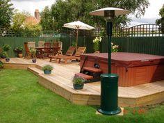 Hot tub deck designs backyard deck designs with hot tub wooden backyard hot Backyard Patio Designs, Backyard Landscaping, Landscaping Ideas, Patio Ideas, Backyard Decks, Diy Deck, Outdoor Ideas, Deck Design Plans, Deck Plans