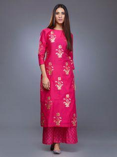 Pink Chanderi Gulmohar Block Printed Kurta