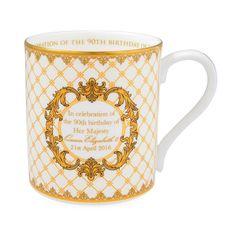 HM Queen Elizabeth II 90th Birthday Mug on Ivory   Halcyon Days