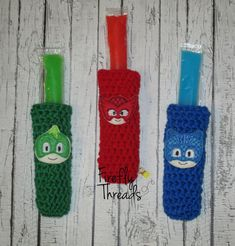 Crochet Popsicle Pouches  Indiviual Bedtime by FireflyThreads