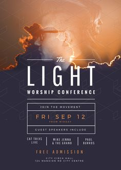 church poster design The Light Worship Conference Church Flyer Template Graphic Design Flyer, Church Graphic Design, Event Poster Design, Creative Poster Design, Church Design, Flyer Design Templates, Flyer Template, Poster Templates, Poster Designs