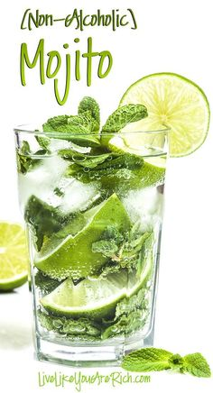 Non-Alcoholic Mojito Recipe. A virgin Mojito is a wonderful mixture of lime and mint—bubbling with sweetness. Just because I don't drink alcohol doesn't mean I miss out on amazing tasting beverages. I love non-alcoholic Mojitos. A virgin Mojito is a won Juice Drinks, Cocktail Drinks, Healthy Drinks, Diet Drinks, Drinks Alcohol, Healthy Nutrition, Healthy Recipes, Alcohol Recipes, Healthy Eating