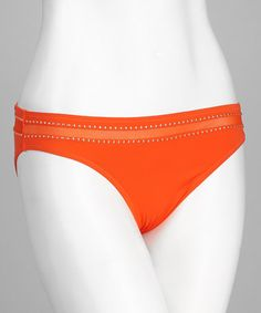 Take a look at this Orange Mesh Stripe Bikini Bottoms by Red Carter on #zulily today!