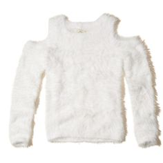 Hollister Cold Shoulder Fluffy Sweater (2.830 RUB) ❤ liked on Polyvore featuring tops, sweaters, white, cutout tops, white long sleeve sweater, cut out sweater, open shoulder top and white long sleeve top