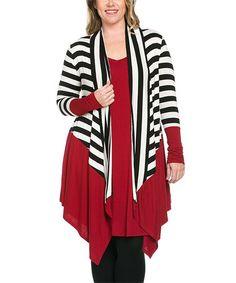 Another great find on #zulily! Burgundy & Black Stripe Open Cardigan - Plus #zulilyfinds
