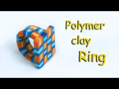 How to make a polymer clay ring with a geometric 3D weft cane - YouTube