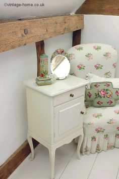 English Cottage Bedroom with Elegant Painted Cabinet and Floral Boudoir Chair: www.vintage-home.co.uk
