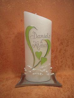 Hochzeitskerze++grünes+Herz+mit+Perlenkette++512+a+von+KerzenundGeschenke+auf+DaWanda.com