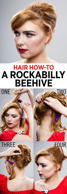 Hair how-to: A rockabilly beehive - Hair Tutorials 1950s Hairstyles, Vintage Hairstyles, Beauty Tips For Hair, Hair Beauty, Medium Hair Styles, Short Hair Styles, Short Retro Hair, Prom Hair Tutorial, 1950s Hair Tutorial
