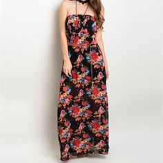 Strapless Floral Maxi Dress