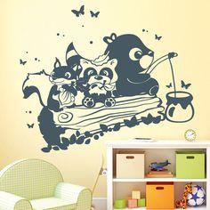 Wandtattoos - Wandtattoo Niedliche Waldtiere auf einem Stamm - ein Designerstück von wandtattoo-loft bei DaWanda