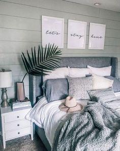 "Gray, white, cozy bedroom decoration: ""Let's stay home - Home sweet home - Bedroom Decor Pretty Bedroom, Cozy Bedroom, Dream Bedroom, Bedroom Brown, Bedroom Ideas Grey, Grey Wall Bedroom, Bedroom Frames, Adult Bedroom Ideas, Simple Bedroom Decor"
