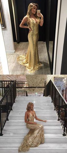 sexy gold sequins long evening dress, 2017 long evening dress party dress