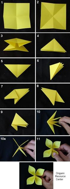 Learn to make easy buttonhole flowers.   This 4-leaf flower is sure to please, find more origami instructions here......