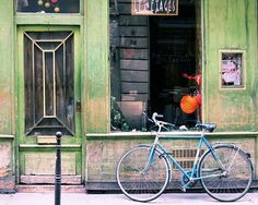 Paris Photography Rustic Building Bicycle Photo Green by HazyTone