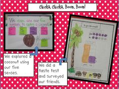 "This post has ideas for exploring coconuts (after reading ""Chicka Chicka Boom Boom"") that include science, math, and writing.  Click on the pin to see more on the blog."