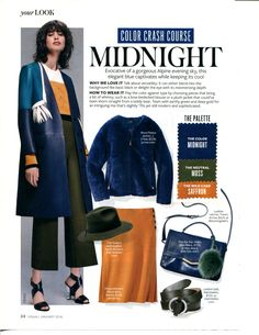Color Crash Course MIDNIGHT - InStyle Jan 2016. Midnight, moss and saffron are featured as a combination