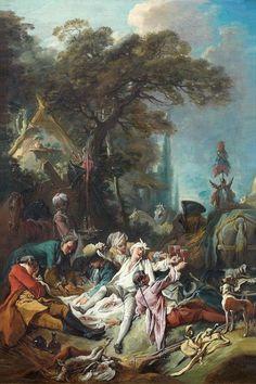 François Boucher(Paris 1703 - Paris 1770),Le repas de chasse.PhotoBeaussant-Lefèvre